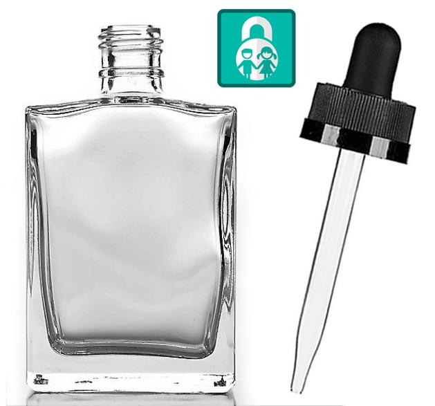 Prázdná skleněná lahvička hranatá s pipetou (čiré sklo) 30ml